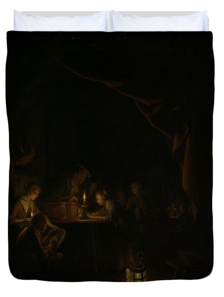 The Night School Duvet Cover by Gerard Dou