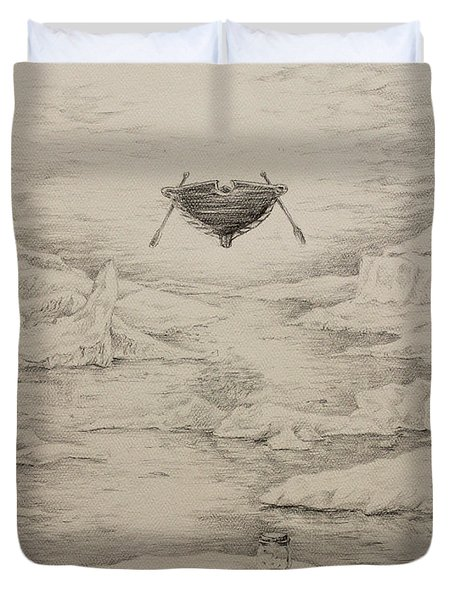 Duvet Cover featuring the painting The Non-locals by James  Andrews