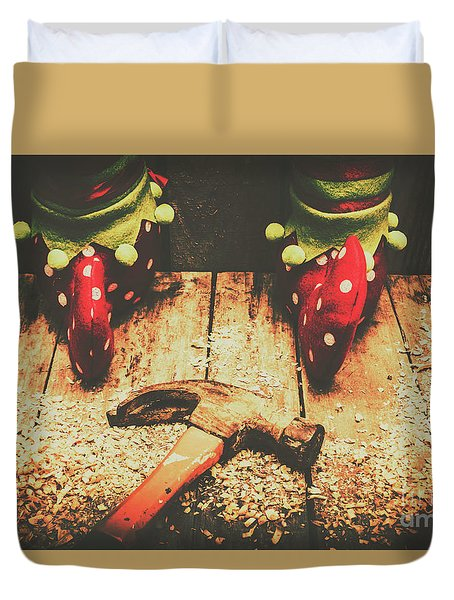 The North Pole Toy Factory Duvet Cover by Jorgo Photography - Wall Art Gallery