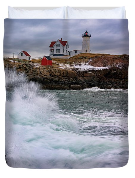 Duvet Cover featuring the photograph The Nubble After A Storm by Rick Berk