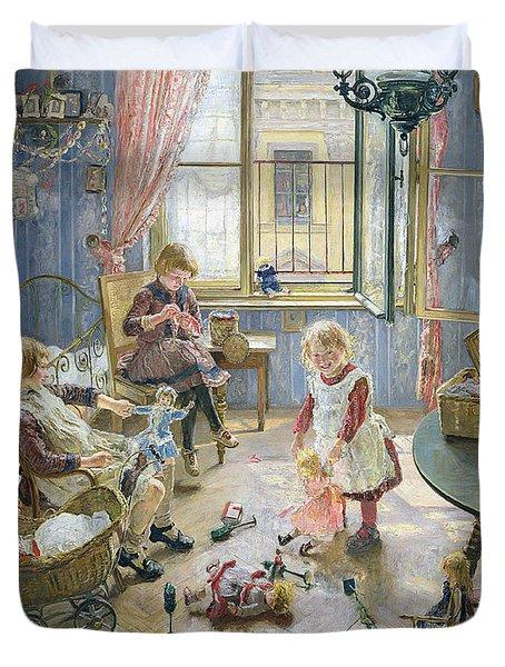The Nursery Duvet Cover by Fritz von Uhde