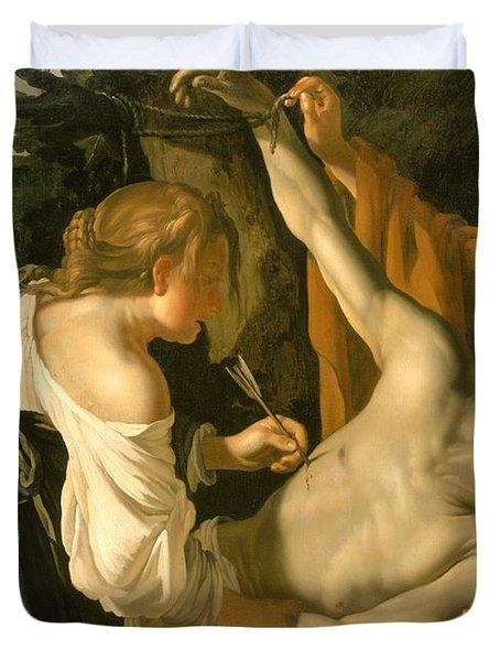 The Nursing Of Saint Sebastian Duvet Cover by Theodore van Baburen