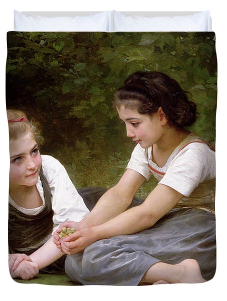 The Nut Gatherers Duvet Cover by William-Adolphe Bouguereau