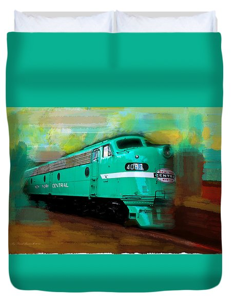 Duvet Cover featuring the painting Flash II  The Ny Central 4083  Train  by Iconic Images Art Gallery David Pucciarelli