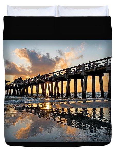 Naples Pier At Sunset Naples Florida Ripples Duvet Cover