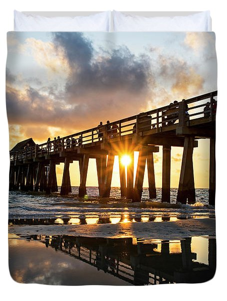 Naples Pier At Sunset Naples Florida Duvet Cover
