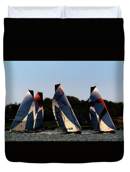 Duvet Cover featuring the photograph The Ocean Race by Tom Prendergast