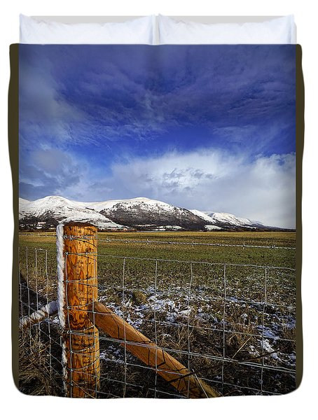 Duvet Cover featuring the photograph The Ochils In Winter by Jeremy Lavender Photography