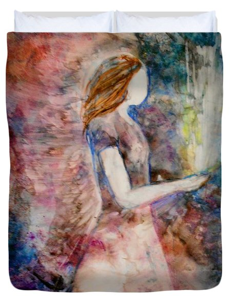 Duvet Cover featuring the painting The Offering by Deborah Nell