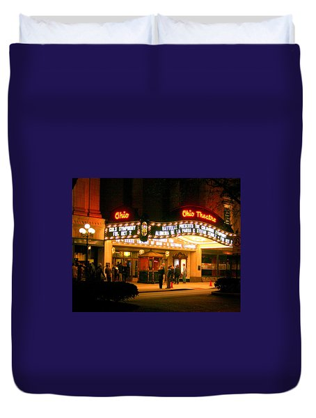 The Ohio Theater At Night Duvet Cover