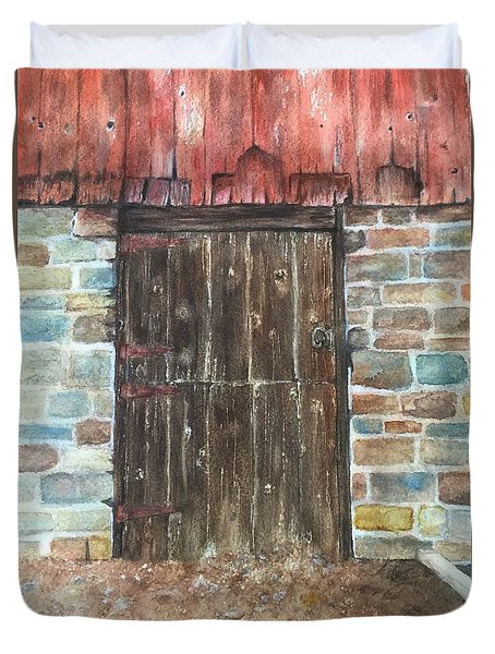 Duvet Cover featuring the painting The Old Barn Door by Lucia Grilletto