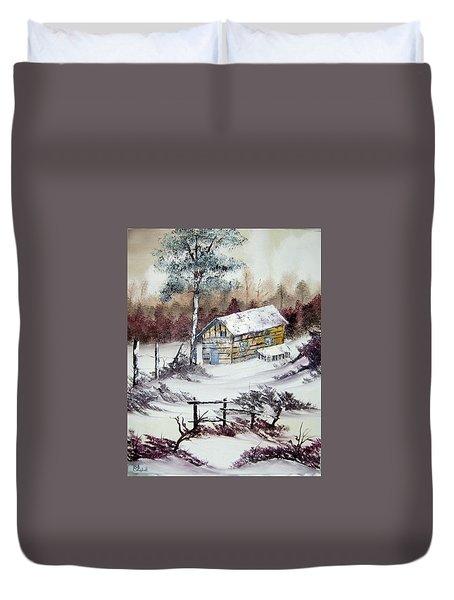 The Old Barn In Winter Duvet Cover