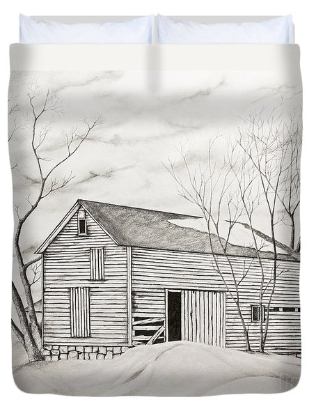 The Old Barn Inwinter Duvet Cover by John Stuart Webbstock