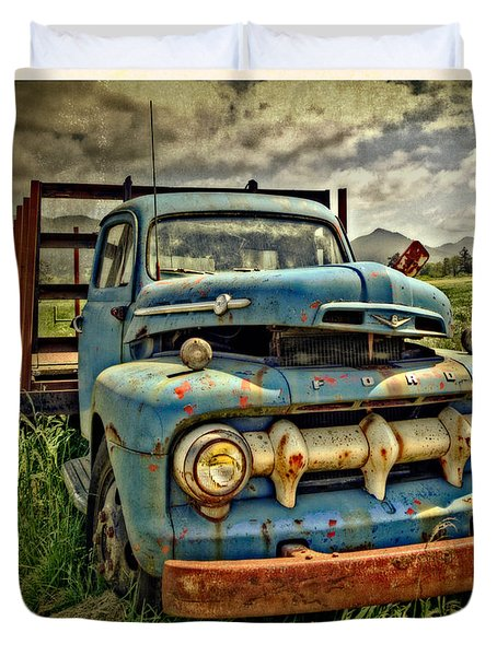 Duvet Cover featuring the photograph The Blue Classic Ford Truck by Thom Zehrfeld