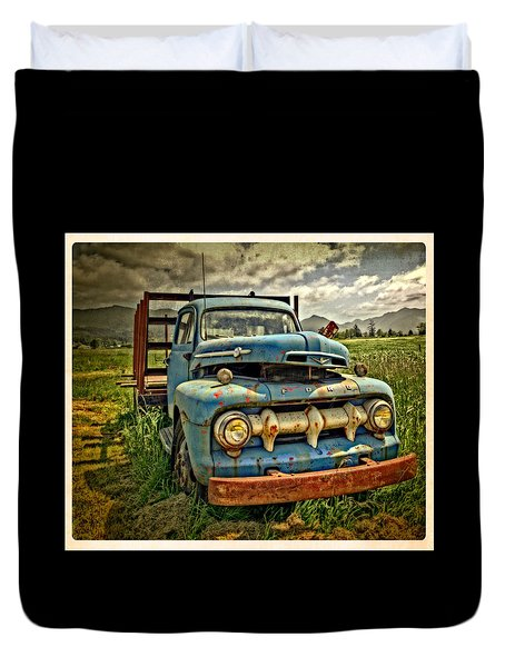 The Blue Classic 48 To 52 Ford Truck Duvet Cover by Thom Zehrfeld