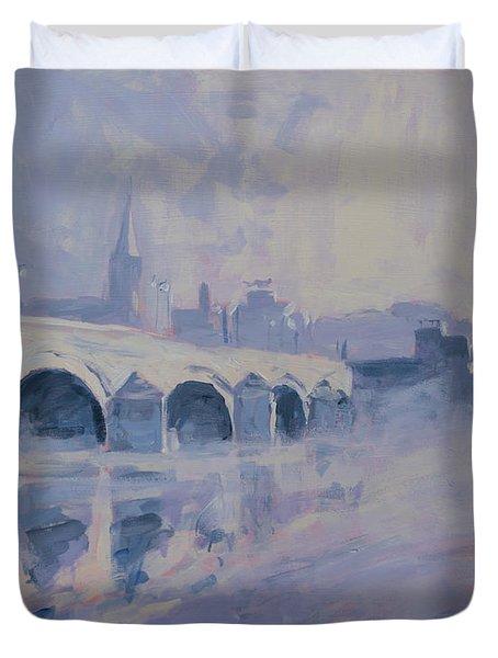 The Old Bridge In Morning Fog Maastricht Duvet Cover