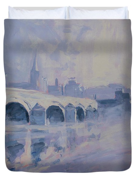 The Old Bridge Of Maastricht In Morning Fog Duvet Cover by Nop Briex