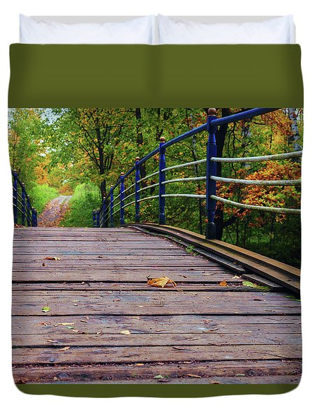 the old bridge over the river invites for a leisurely stroll in the autumn Park Duvet Cover