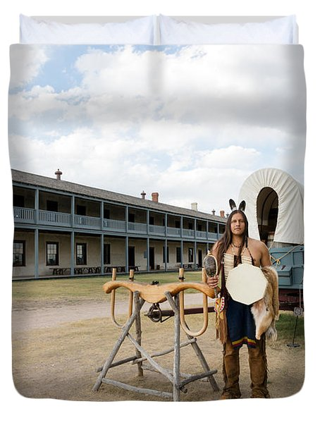 Duvet Cover featuring the photograph The Old Cavalry Barracks At Fort Laramie National Historic Site by Carol M Highsmith