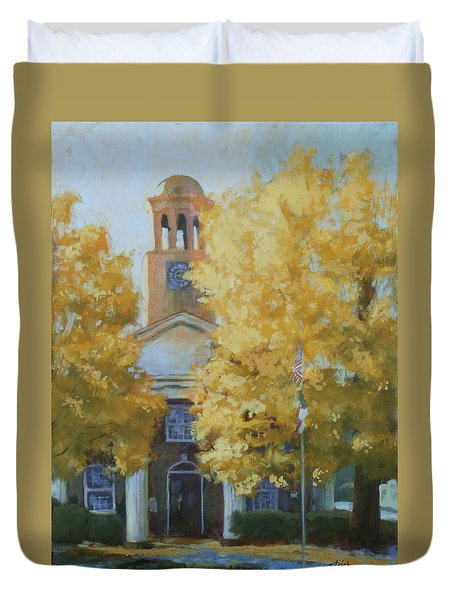 The Old Courthouse, 9am Duvet Cover by Carol Strickland