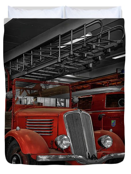 The Old Fire Trucks Duvet Cover