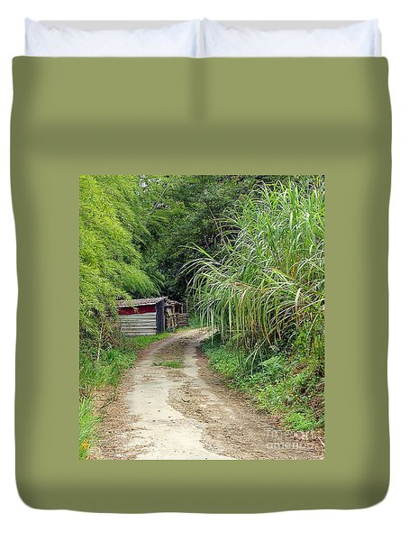 Duvet Cover featuring the photograph The Old Forest Road by Yali Shi