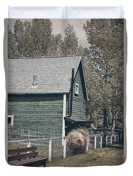 The Old Green Barn Duvet Cover by Maria Angelica Maira