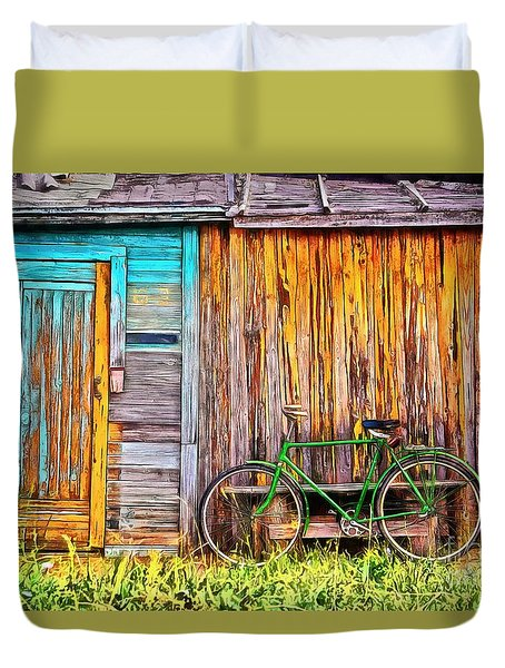 Duvet Cover featuring the painting The Old Green Bicycle by Edward Fielding