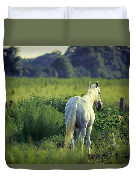 Duvet Cover featuring the photograph The Old Grey Mare by Jan Amiss Photography