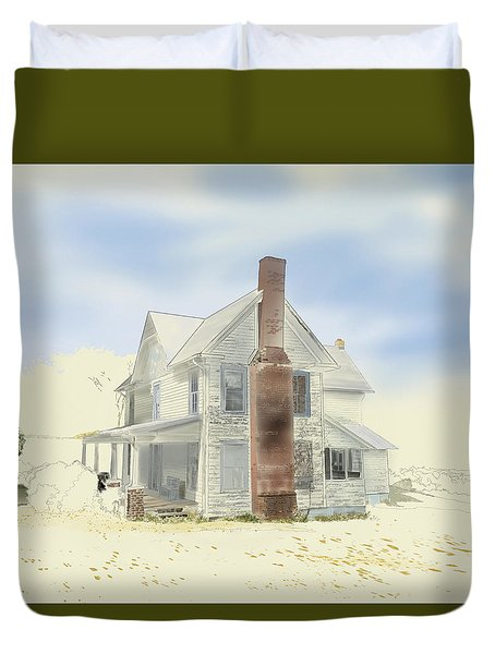 Duvet Cover featuring the painting The Home Place - Silent Eyes by Joel Deutsch