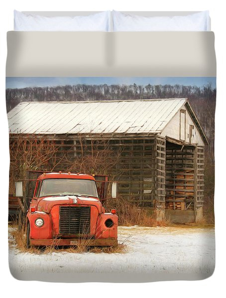 The Old Lumber Truck Duvet Cover by Lori Deiter