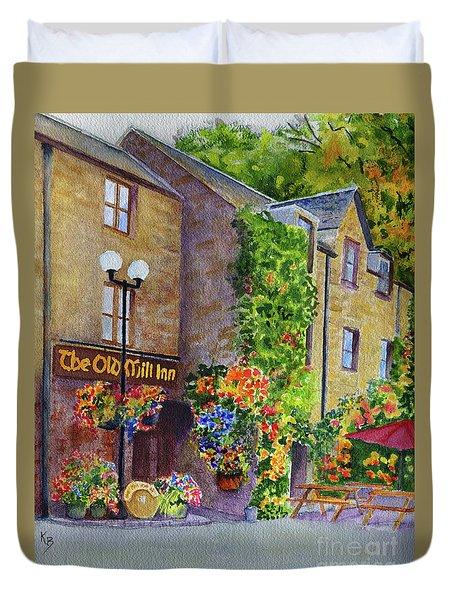 Duvet Cover featuring the painting The Old Mill Inn by Karen Fleschler