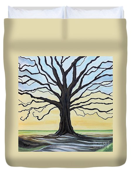 Duvet Cover featuring the painting The Stained Old Oak Tree by Elizabeth Robinette Tyndall