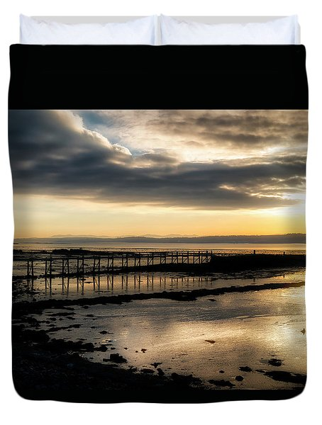 The Old Pier In Culross, Scotland Duvet Cover