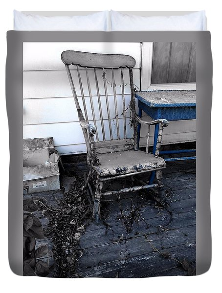 Duvet Cover featuring the photograph The Old Rocker by Jim Vance