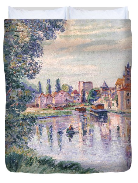 The Old Samois Duvet Cover by Jean Baptiste Armand Guillaumin