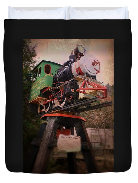 Duvet Cover featuring the photograph The Old Steam Locomotive by Robin Regan