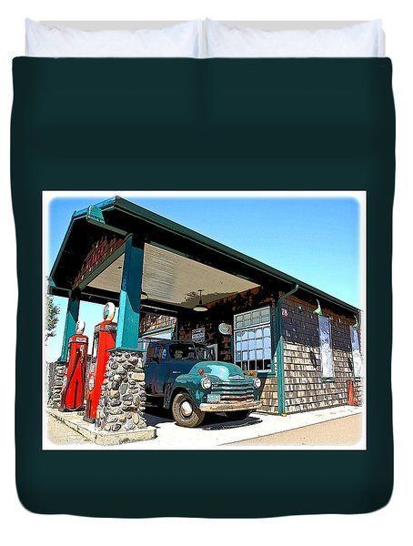 The Old Texaco Station Duvet Cover by Steve McKinzie
