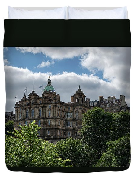 Duvet Cover featuring the photograph The Old Town In Edinburgh by Jeremy Lavender Photography