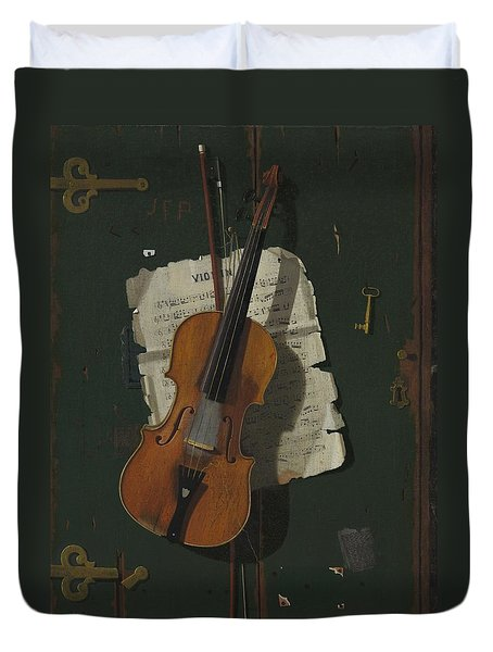 The Old Violin Duvet Cover by John Frederick Peto