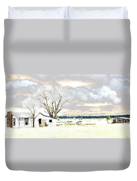 The Old Winter Homestead Duvet Cover