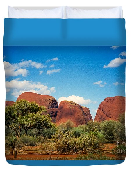 Duvet Cover featuring the photograph The Olgas by Suzanne Luft