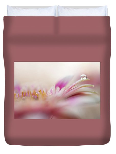 Duvet Cover featuring the photograph The One. Macro Gerbera by Jenny Rainbow