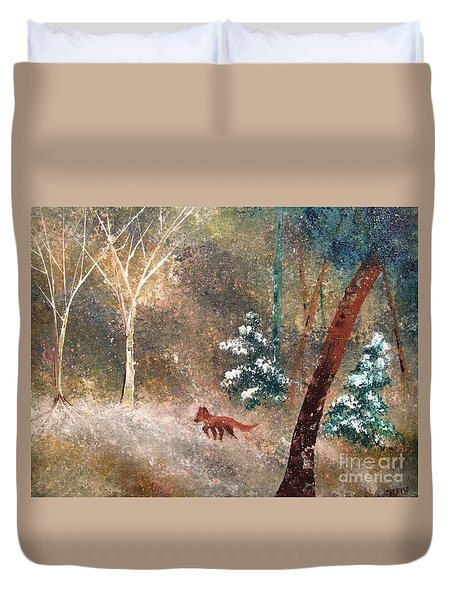 Duvet Cover featuring the painting The Onion Snow by Denise Tomasura