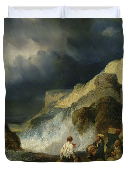 The Onslaught Of The Smugglers Duvet Cover by Louis Eugene Gabriel Isabey