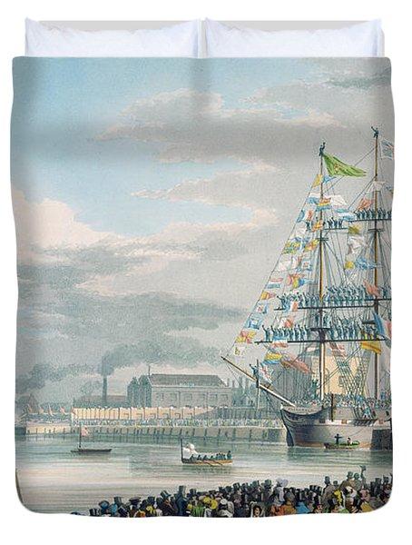 The Opening Of Saint Katharine Docks Duvet Cover by Edward Duncan