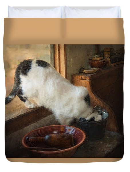 Duvet Cover featuring the photograph The Opportunist by Robin-Lee Vieira