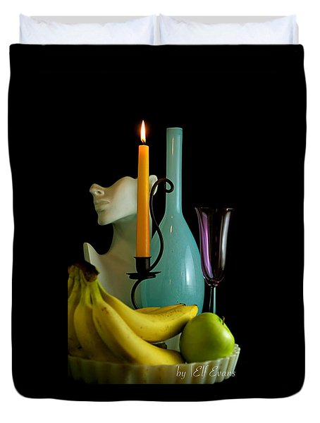 Duvet Cover featuring the photograph The Orange Candle by Elf Evans