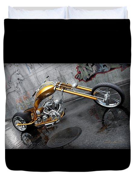 The Orange City Chopper Duvet Cover by David Collins