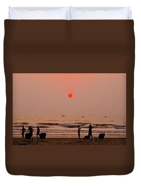 The Orange Moon Duvet Cover